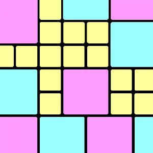groß-flächiges Muster, zarte Farben, bunt, mit Schwarz