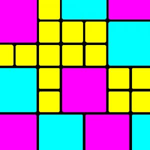 groß-flächiges Muster, kräftige Farben, bunt, mit Schwarz