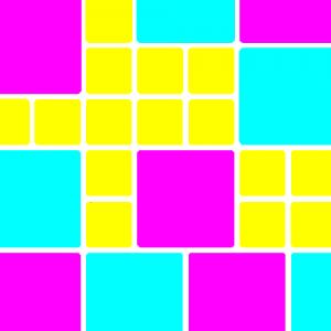 groß-flächiges Muster, kräftige Farben, bunt, mit Weiß