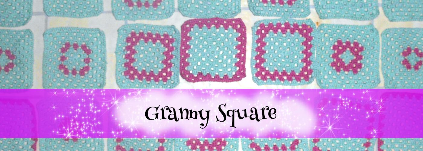 Beitragsbild für Blogartikel: Granny Square. Zu sehen: Unterschiedlich gearbeitete Granny Square. Schrift: Granny Square